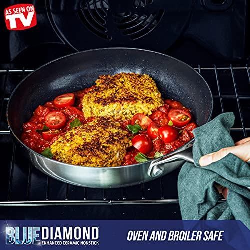 Blue Diamond Cookware Triple Steel Ceramic Nonstick Stainless Steel Cookware Pots and Pans Set, 7 Piece