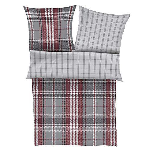 s.Oliver 5929 Bettwäsche 135x200 cm - Satinbettwäsche rot grau, 100% Baumwolle, 2 teilig mit Reißverschluss
