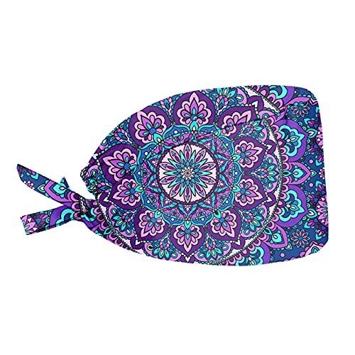 Renewold Mandala Lotus Purple Mujeres Grandes Niños Adolescentes Gorra con Banda para el sudor ajustable Tie Back Sombreros Cabeza Cubierta de Cabello Talla Única Gorro con Nudo a Prueba de Sucia