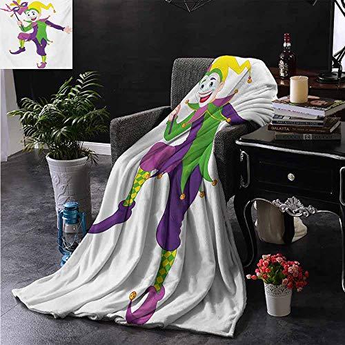 ZSUO Travel deken Carnaval Meisje in Harlequin Kostuum en Hoed Cartoon Fat Dinsdag Thema Microfiber deken bank of reizen