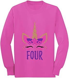 Gift for 4 Year Old Girl Unicorn 4th Birthday Toddler/Kids Long Sleeve T-Shirt