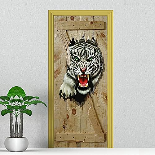 Pegatinas de Puerta en 3D 95x215cm DIY Autoadhesivo Puertas Mural Etiqueta Papel Tapiz para el Dormitorio Sala de Baño Cocina Calcomanía de la Puerta Pared - Animal Tiger