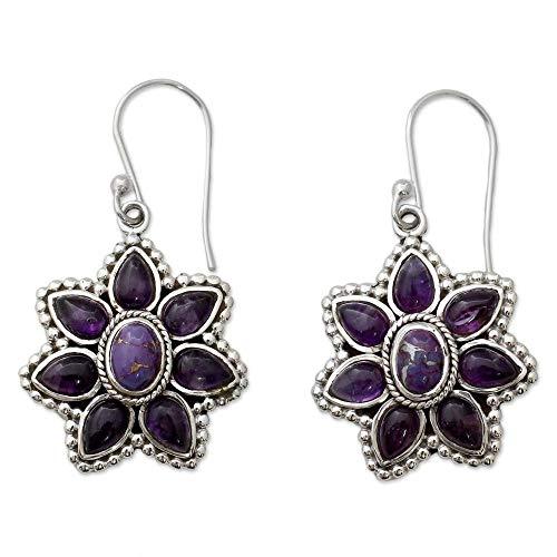 YANGYUAN Pendientes de la Vendimia de la Turquesa Amatista Pendientes de Las Mujeres Pétalo púrpura del melocotón, Pendientes Pendientes del Encanto de la joyería del oído de Las Mujeres