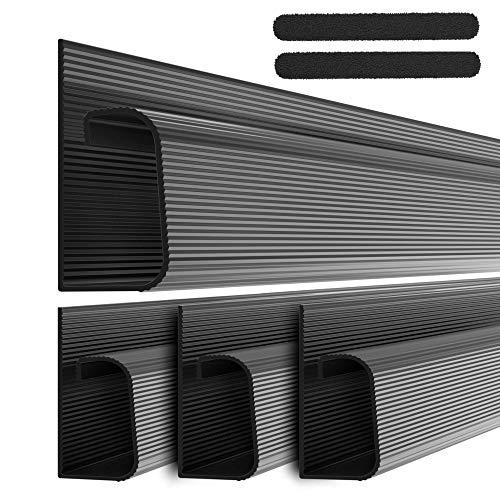 """Kit Cable Canal J – Sistema Organizador De Cables De Computadora De Escritorio – 4X16"""" (10X40.60Cm) Bandejas Para Debajo Del Escritorio, Organizadoras De Cables, Para La Oficina Y El Hogar. (Negro)"""