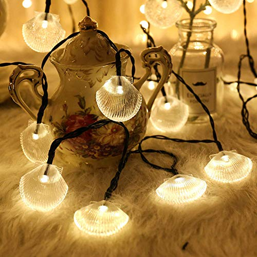 Luz solar Shell 8 funciones, luz para valla al aire libre, impermeable, para jardín, patio, parque, camino, césped, iluminación decorativa, 12 m, 100 LED, 1 luz blanca