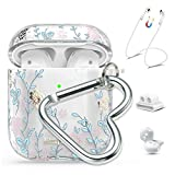Queenxbar Airpods Case Cover, Clear Hard PC Airpods Cover Sparkle Crystals with AirPods Strap/Ear Hook/Watch Band Holder/Heart-Shaped Carabiner for Airpods 1 & 2(Front LED Visible)