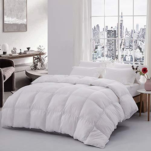 SERAINA All-Season Grey/White Stripe Down Alternative Comforter,Queen Size 90x90inches Light Weight Duvet Insert,Plush Microfiber Fill-Hypoallergenic&Machine Washable
