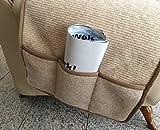 Alpenwolle Sesselschoner in Wellenoptik beige mit Taschen, 100% Wolle, Sesselauflage Sesselüberwurf Sitzauflage Überwurf - 2