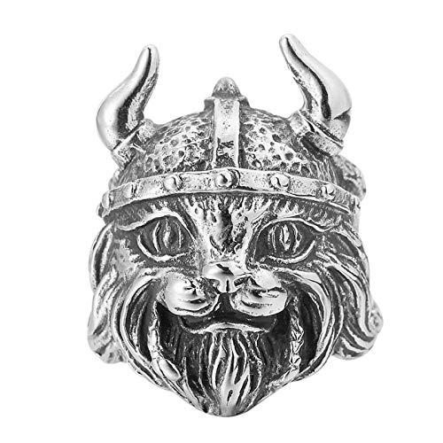 QAZXCV Viking Pirat Hut Katze Tier Edelstahl Herren Ringe Punk Hip Hop Für Männliche Freund Biker Schmuck Kreativität Geschenk,13
