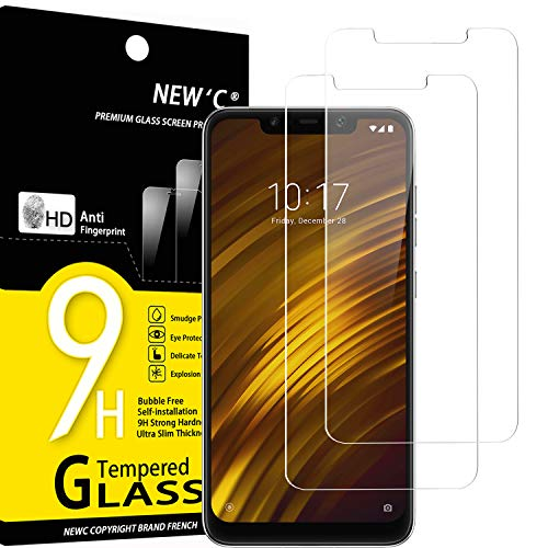 NEW'C Lot de 2, Verre Trempé Compatible avec Xiaomi Pocophone F1,Film Protection écran sans Bulles d'air Ultra Résistant (0,33mm HD Ultra Transparent) Dureté 9H Glass