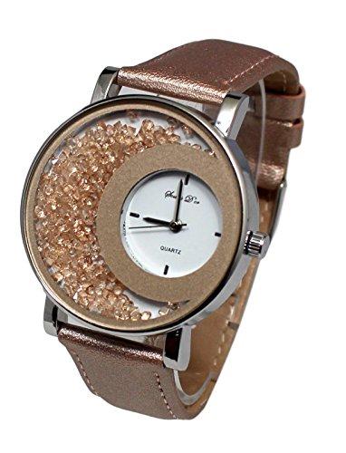 giorgio & dario - Estuche para mujer con reloj de pulsera de cuero y brillantes y pulsera doble con brillantes Dolce Vita, color blanco
