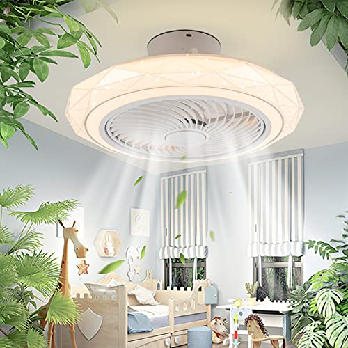 IYUNXI Modern Ceiling Fan with Light Remote Control LED Ceiling Fan Light Enclosed Low Profile Fan Ceiling Light Dimmable Color 72W 3D Diamond Starry Sky Cover Bedroom Children's room Living Room etc