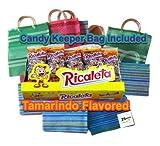 Ricaletas Paletas - Ricaleta Mexican Candy Box Tamarindo Flavored Dulces Mexicanos (25 Count) Mini Paletas Ricaletas Tamarind Lollipops Bulk + Cute Mini Market Bag (Bundle)