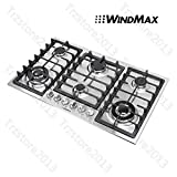 WindMax 34' Titanium 6 Burners Built-In Stoves NG/LPG Cooktops Cooker~US Stored#68023