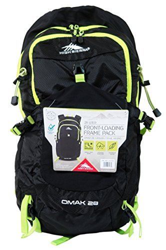 High Sierra 28 Liter Front-Loading Frame Pack - OMAK 28 Urban/Trail Hiking (Hydration Access Ready) (Black/Yellow)
