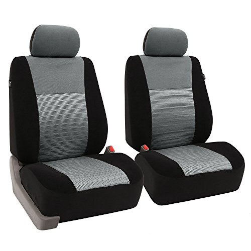 FH GROUP FB060GRAY102 Gray Deluxe 3D Air Mesh Front Seat Cover, Set of 2 (Airbag Compatible)