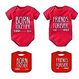 YSCULBUTOL Baby-Strampler-Set, für Zwillinge mit den besten Freundinnen - Rot - 4-6 Monate