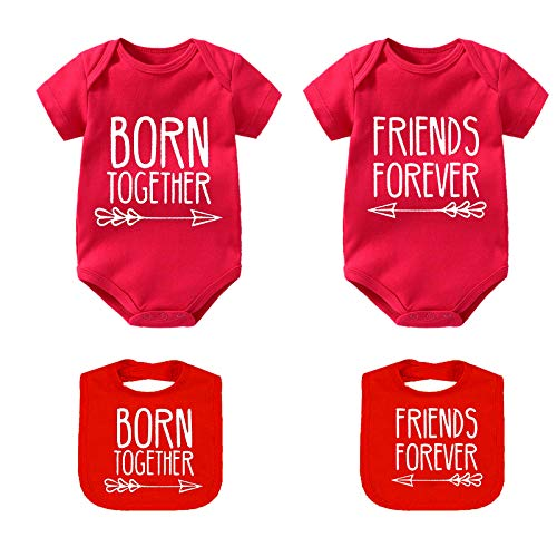 Culbutomind Baby Twins Body Best Friends Forever Baby Twin Set Amici Divertenti gemelli Rosso Bstf 6 mesi