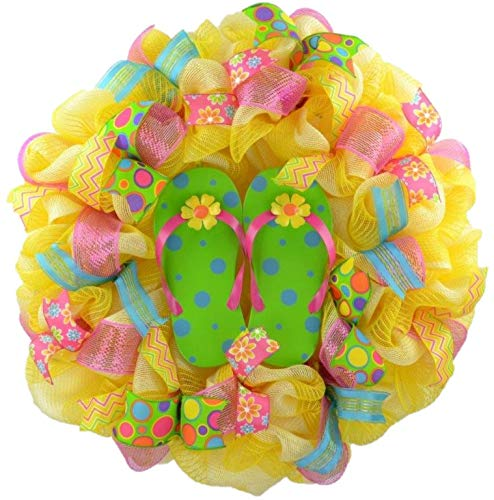 Yellow Summer spring flip flop welcome deco mesh wreath; Lime Green Pink Turquoise
