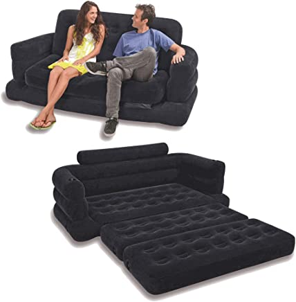 Intex Two Person Inflatable Pull Out Sofa Bed- Black