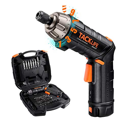 Electric Screwdriver 6Nm, TACKLIFE Cordless Screwdriver, 2000mAh Li-ion, 45 Accessories, with 9+1 Torque Gears, Adjustable 2 Position Handle, 2-LED Light, USB Charge, Storage Box -TDSC01P