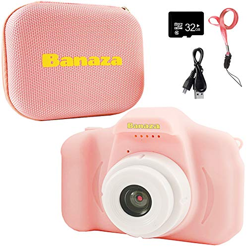 Banaza Kids Camera with Case – Camera for Kids with 32GB SD Card and Case Included | Kids Digital Camera | Best Birthday Gift for 3-6 Year Old | Toddler Video Recorder with 1080P HD 2 Inch LCD (Pink)