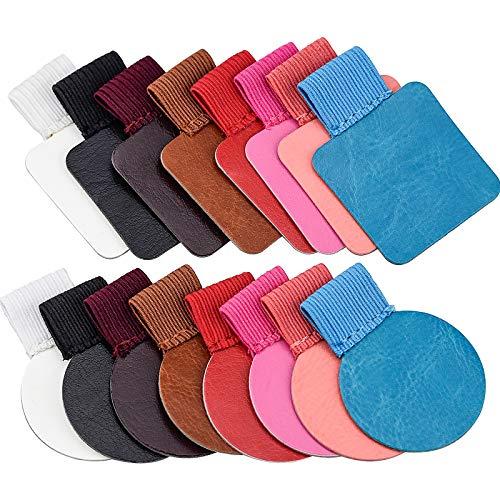 16 Stk Selbstklebender Stiftschlaufe 8 Farben Stifthalter Selbstklebend aus Kunstleder mit Elastischer Gummiband für Notizbuch Planer Kalender Klemmbretter