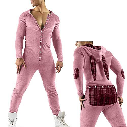 DODOYA Herren Einteiler Overall Jumpsuit Sexy Hoodie Pyjamas Nachtwäsche Onesie Sleepsuit Homeware mit Kapuze (Rosa, XXL)