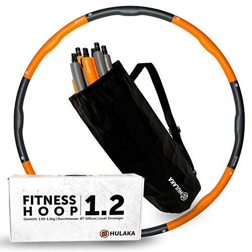 HULAKA 1.2 Fitness Hula Hoop Reifen | 87-100cm | 1,05-1,2kg |für Einsteiger & Fortgeschrittene mit Tasche & Trainingsanleitung für Training von Bauch, Rumpf, Armen, Beinen, Po & Bindegewebe