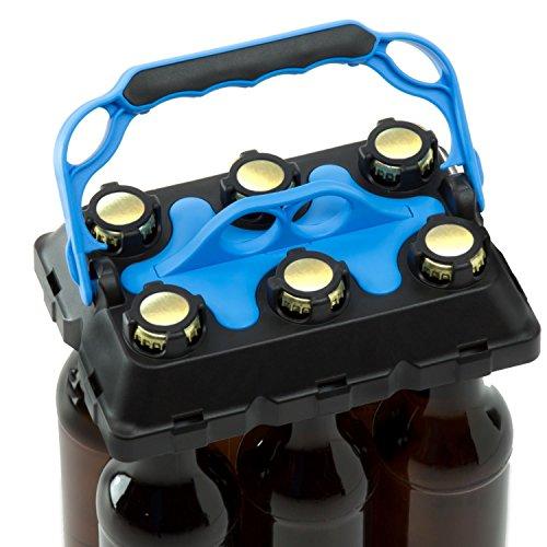 CLICK-IT BOB The Bottle Buddy Flaschenträger I Trage-Hilfe für bis zu 6 Bier-Flaschen I cooles & praktisches Gadget für Deine Party - für 0,33 l Glas-Flaschen I Bottle Carrier (schwarz/blau)