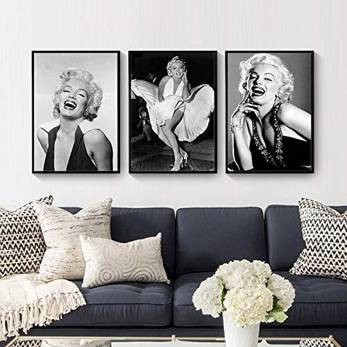 JEfunv Arte de la Pared Pintura de la Lona Marilyn Monroe Figura Imprimir póster Negro Blanco Chica Dormitorio Sala de Estar Imagen retro-40x60cmx3 sin Marco