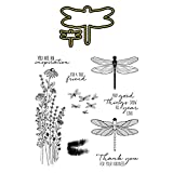 Dragonfly Stamps and Dies Set for Card Making Die Cuts Silicone Clear Seal Stamp Set for Card Making Decoration DIY Scrapbooking Paper Craft Album Supplies