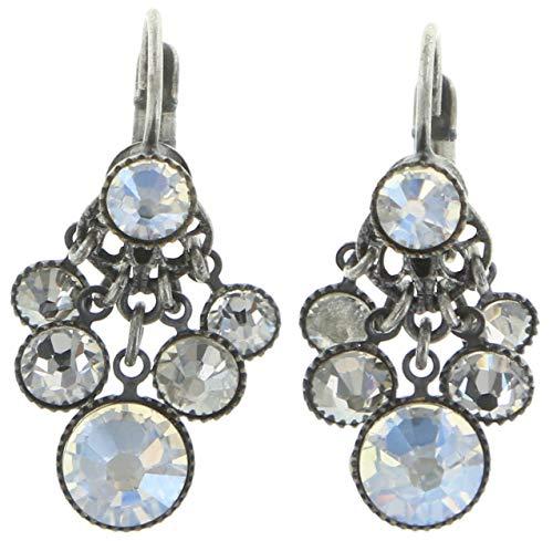 KONPLOTT Waterfalls Ohrhänger für Damen | Exklusive Designer-Ohrringe mit 12 Swarovski Steinen | Glamouröser Ohrschmuck passend zu jedem Anlass | Handgefertigter Damen-Schmuck | Weiß