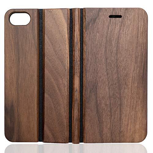wooday tokyo iPhoneSE(第2世代) / 8 / 7 木製 ウッド 手帳型 ケース ウォールナット 財布型 サイドマグネット式 カード収納 スタンド機能 全面保護 人気 おしゃれ プレゼント ギフト (SE(第2世代) / 8 / 7,