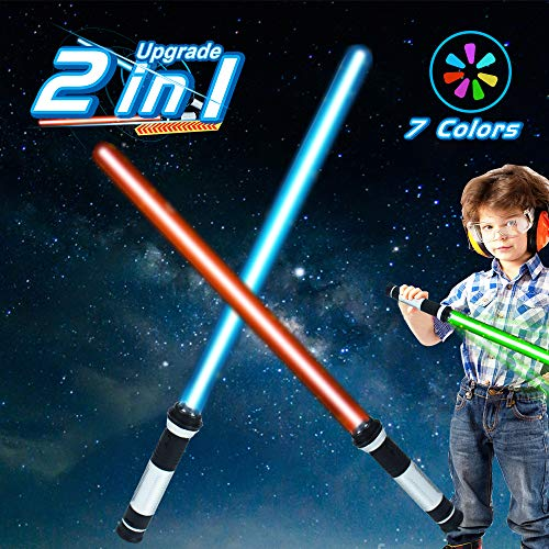 Light Sabers Toys 2 In 1 Sword FX Dual Light Swords Set Laser Sword 7 Colors LED Changing Light Saber Joy Toy for 3-8 Year Old Boys Kids Gifts Star Galaxy War Realistic Sound Christmas Halloween Party