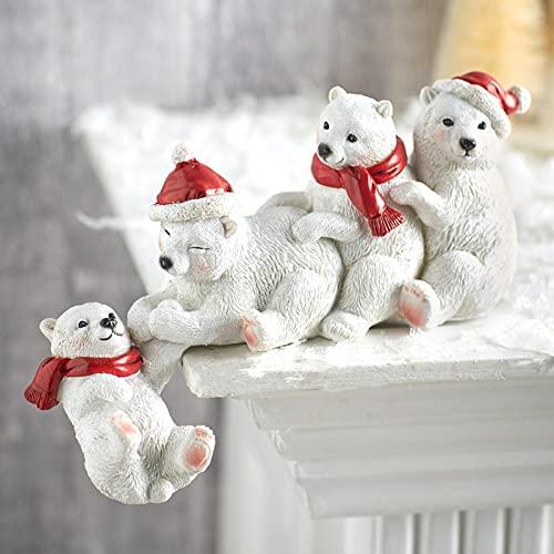 Reooly weihnachtsdeko Harz Dekoration Gartenzwerg Dekoration Ornamente Eisbär Weihnachtsmann Desktop Dekoration Weihnachtsfiguren