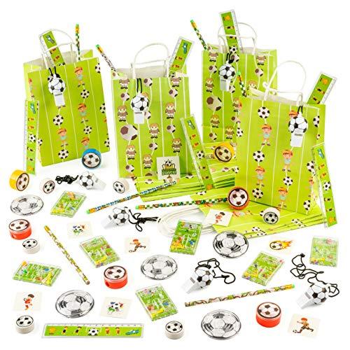 80 Piezas Juguetes de Fútbol y 10 Bolsas de Fiesta (8 Juguetes por Bolsa de Regalo) - Fiestas de Cumpleaños con Temática de Fútbol.