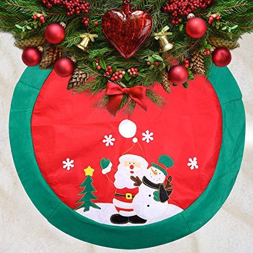 Zogin - Pedana di copertura della base dell'albero di Natale, motivo: Babbo Natale e pupazzo di neve, decorazione natalizia