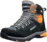 GUGGEN Mountain PM026 Herren Trekking-& Wanderstiefel Wanderschuhe Trekkingschuhe Outdoorschuhe wasserdicht mit Membran und Wildleder Farbe Schwarz-Orange EU 46