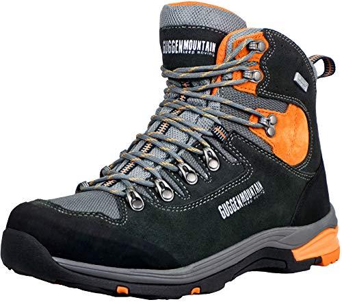 GUGGEN MOUNTAIN PM026 Botas De Trekking Y Senderismo para Hombre Zapatos De Exterior Impermeables con Membrana Y Gamuza Color Negro-Naranja UE 44