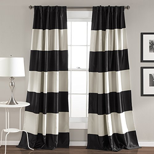 """Lush Decor Montego Striped Window Curtains Panel Set for Living, Dining Room, Bedroom (Pair), 84"""" x 52"""", Black"""