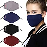 Reusable Dust Masks, Fascigirl 4pcs Anti Dust Pollution PM2.5 Mask with 8pcs Activated Carbon Filter Insert Washable Cotton Mouth Mask with Adjustable Straps