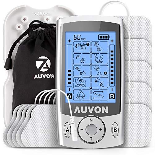 AUVON TENS Gerät, 2 Kanäle TENS EMS Reizstromgerät mit 20 Trainingsprogramme und 10 Stück Premium Elektroden Pads zur Schmerzlinderung von Knicken am Rücken, Nacken, Schultern