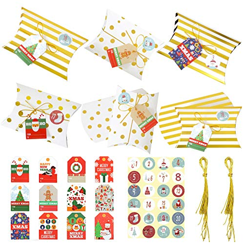 Cajas de Almohadas de Papel Kraft BESTZY 24 Piezas Caja de Almohadas para Bodas y Adviento Navidad Pegatinas Cajas de Regalo Pequeñas para Cumpleaños Fiesta de Navidad
