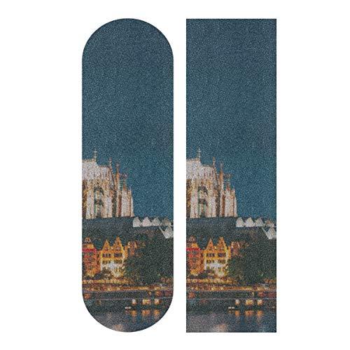 LIANGWE 33.1x9.1inch Sport Outdoor Skateboard Sandpapier Splendid Forever Cologne Domdruck Wasserdichtes farbiges Skateboard Griffband für Tanzbrett Double Rocker Board Deck 1 Blatt