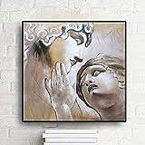wZUN Clásico Retrato en Relieve Blanco Pintura en Lienzo Retro Arte de la Pared Carteles e Impresiones Sala de Estar cafetería Bar decoración Pintura de Pared 60x60 Sin Marco