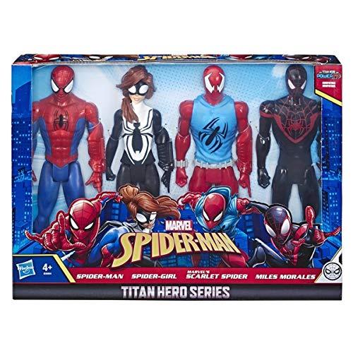 Marvel Spiderman Titan Hero Series Action Figures - Spider-Man, Spider-Girl, Scarlet Spider, Miles Morales! (4 Action Figures)