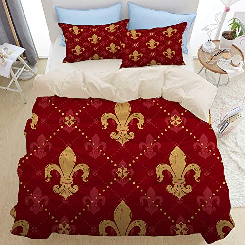 GLONLY Bedding Duvet Cover Set Double,gold lily ornament signs in style of fashion on empire red shaded,Bedroom 3pcs Microfiber Quilt Cover Sets,Zipper Closure with 2 Pillow Shams