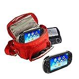 Orzly® - Funda para Sony PSP (GO/VITA/1000/2000/3000) - Funda para Consola, Juegos y Accessarios Bolso Incluye: Correa para el Hombro Ajustable + Llevan la Manija + Fijación a un Cinturón - Rojo