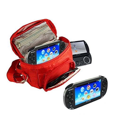 Orzly - Game & Console Travel Bag for Sony PSP Consoles (GO/VITA/1000/2000/3000) Has Special Compartments for Games & Accessories. Bag Includes Shoulder Strap + Carry Handle + Belt Loop - RED